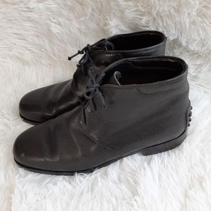 Tod's Shoes - TOD'S Chukka Black Leather Lace Up Ankle Boots